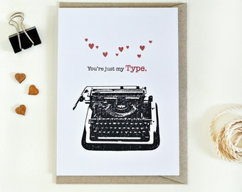 Valentine's Day card // love card // vintage typewriter // funny handmade greeting card