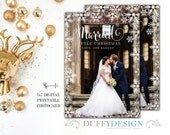 Merry & Married Christmas Photo Card, Holiday Photo Card, Christmas Card, Merried Little Christmas 5x7 DIGITAL PRINTABLE - ONE sided