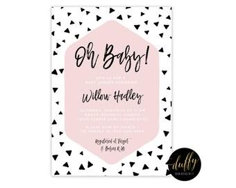 Baby Girl Shower Invitation, Black Pink Shower Invitation, Baby Shower Invitation, Confetti Baby Shower Invite, Printable 5x7 Shower Invite