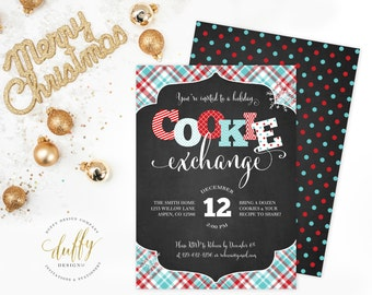 Holiday Cookie Exchange Invitation, Christmas Cookie Exchange Invite, Cookie Swap Invite, Cookie Decorating Invitation, Holiday Invitation