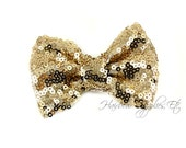 Light Gold Sequin Bows Small 3 inch - Sequin Bow Headband, Sequin Bow Tie, Sequin Hair Bow, Sequin Hair Bows, Sequin Baby Bows