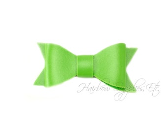 Lime Faux Leather Bows 2-1/2 inches- Green Leather Bow, Lime Leather Hair, Light Green Faux Leather, Lime Leather Bow, Green Leather Bow Tie