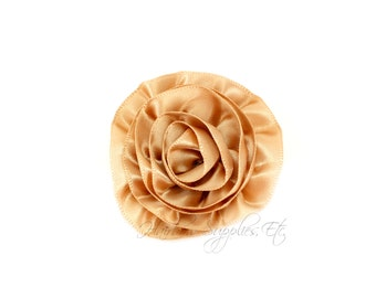 Beige Rose Ruffle Silk Flowers 2 inch - Beige Flowers, Beige Hair Flowers, Beige Silk Flower, Beige Flowers For Hair, Beige Hair Accessories
