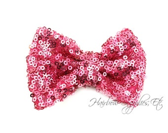 Pink Sequin Bows Small 3 inch - Sequin Bow Headband, Sequin Bow Tie, Sequin Hair Bow, Sequin Hair Bows, Sequin Baby Bows
