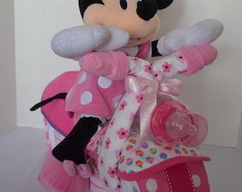 Motorcycle Diaper Cake,  Bike, 2-wheeler,Baby Shower Gift, Centerpiece, Baby Cake,  Baby Girl Gift, Sock Monkey, New Baby