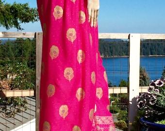 70's India Block Print BOHEMIAN PEACOCK Hippie Festival Pants