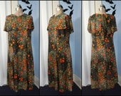 Funky Vintage 70s Womens Dress Hippy Floral Disco Style with Shoulder Capelet Modern Size XL