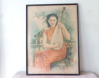 VIntage Framed Print of Chinese Beauty with Mandolin - Pick Up Only