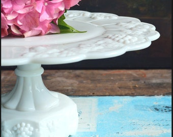 Vintage Milk Glass Cake Stand / Westmoreland Paneled Grape Cake Stand / Milk Glass Wedding