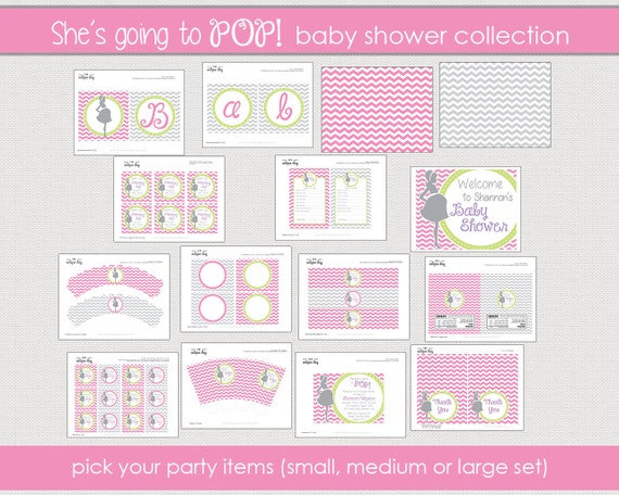 Printable Baby Shower party collection -  RTP - About to Pop  Party Package - (boy/girl/neutral)  // RTP- 01
