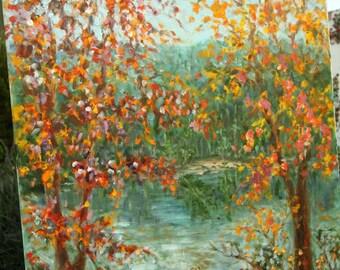 """Vintage Impressionist Impasto Painting Trees Near A Brook 18"""" x 24"""""""