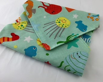 Reusable Sandwich Bag Wrap - Riley Blake Ocean Main
