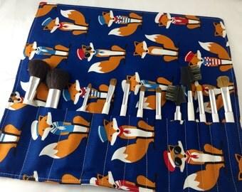 Makeup Brush Roll Holder - Travel Makeup Brush Bag - Makeup Brush Organizer - Makeup Brush Case Cosmetic Brush Bag - Sailor Foxes  in Navy