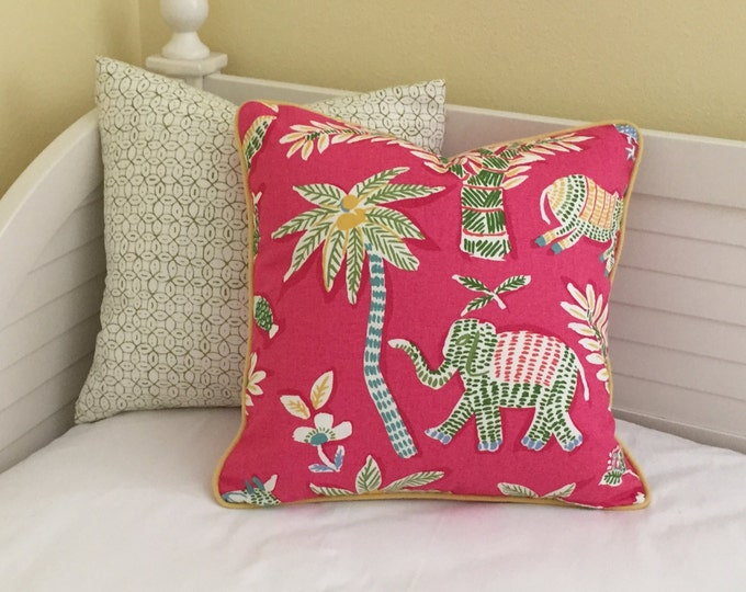 Thibaut Goa in Pink with Elephant and Donkey Designer Pillow Cover with Yellow Piping - Square and Euro Sizes