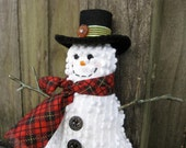 WWOFG Primitive Snowman Ornament, PRIM Happy Snowman Tuck, vintage chenille, buttons, rustic, folk, Red Black, Cute Smiling Snowman Decor
