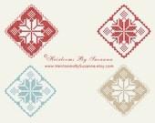 INSTANT Download - Snowflake - Machine Cross Stitch - Machine Embroidery Pattern - Holiday - 4 x 4 Design