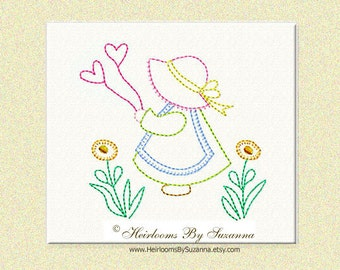 Sunbonnet Sue with Hearts and Flowers - Machine Redwork Embroidery - Colorwork - Bluework - INSTANT download - 3 Sizes