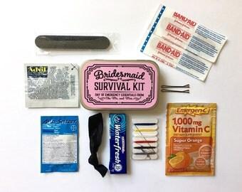 Bridesmaid Gift, Bridesmaid Survival Kit, Survival Kit Sticker, Bridsmaid Sticker, Wedding Day Survival Kit, Emergency Kit, UNFILLED