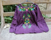 L-XL Long Sleeves Bohemian Embroidered Top - Dark Purple