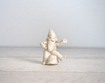 Antique Bisque Gnome Statue, German Porcelain Toy, Made in Germany, White Dwarf Figurine, 19th Century Porcelain
