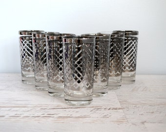 Vintage Mid Century Glasses, Silver Glass Set, Geometric Drinking Tumblers, Mid Century Modern, Mad Men Era Barware