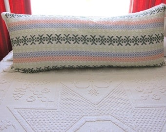 Custom Jumbo Pillow Bolster in Danish Hedebo Embroidery w/ Linen