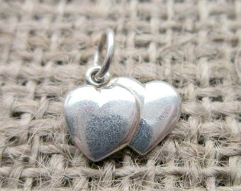 Vintage Sterling silver double heart pendant charm hearts