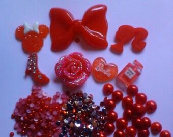 Kawaii cabochon decoden DIY charm red big bow kit  15---USA seller