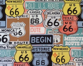 Historic 66 Route Sign Print Pure Cotton Fabric --By the Yard
