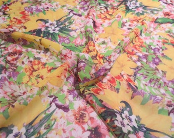 Yellow with Orchid and Red Allover Floral Print Polyester Chiffon Fabric--By the Yard