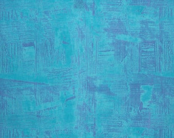 REMNANT--Turquoise and Purple Urban Distressed Print Pure Cotton Fabric--1.5 Yards