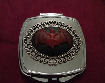 SALE***Red Vampire Bats Silver Gothic Compact Mirror
