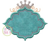 """Princess Crown Frame Design For Machine Embroidery, shown with our """"Magnolia Sky"""" Font NOT Included, INSTANT DOWNLOAD now available"""