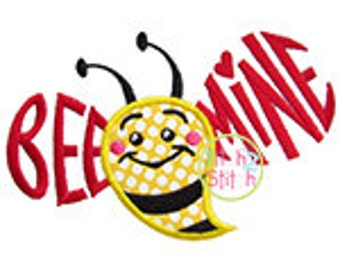 Bee Mine Bumblebee Applique Design For Machine Embroidery,  INSTANT DOWNLOAD now available