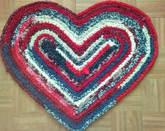 "Crocheted Rag Rug ~ Heart ~ 30"" x 25"" ~ Americana ~ Scrappy Heart Rag Rug ~ Patriotic Rug ~ Colonial Rug ~ Rustic Rag Rug ~ Machine Washable"