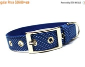 ON SALE  Royal Blue Pin Dots Dog Collar with Metal Buckle