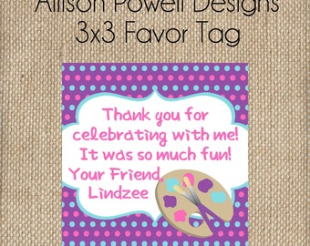 Girls Paint Birthday Party Invitation Pink and Purple Birthday Party Favor Tags