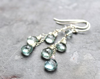 Aquamarine Earrings Sterling Silver March Birthstone Earrings Pale Aqua Blue Gemstone Earrings