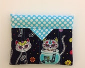 Cats and a Fishbowl Quilted Fabric Mini Snap Bag Purse Pouch Handmade 5-1/4 x 4-1/4