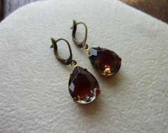 BLACK CHERRY-Black Diamond Ruby Teardrop Jewel Earrings