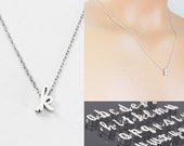 Cursive Initial Necklace.Silver Letter Charm necklace. Personalized Bridesmaid  Wedding Minimalist Birthday Script