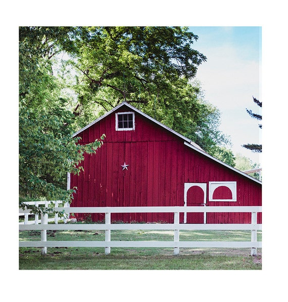 New! Landscape, Red Barn in Summer, Nature Photography, Barn Print, Country Summer Art, Red Barn, Country, Rustic Print