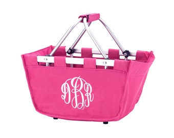 SHIPS NEXT DAY--Monogrammed Reusable Mini Market Tote--Hot Pink--Free Monogramming--