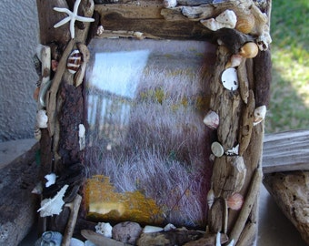 Coastal Home Shore Inspired Driftwood Seashell Starfish Coral Barnacles Photo Picture Frame, Worn Wave Washed Wood Art Beach Decor Gift