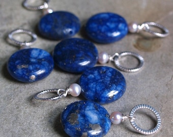 Lapis and Pearl Coin CharmPendant #51