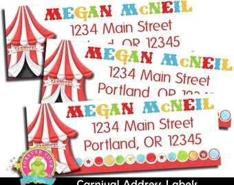 Carnival Return Address Labels / Carnival Party / Carnival Birthday / Carnival Party Favors / Carnival Stickers / Circus Party