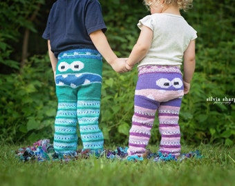 Monster Pants Self Striping Legs Choose Your Own Colors Knit Monster Pants