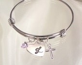 Monogrammed Bangle Bracelet - Heart Charm and Cross Charm - Expandable Child's and Adult Size - Confirmations, Baptisms, First Communion