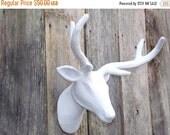 On Sale Deer Head / White Deer Head / Faux Deer Head / Stag Head / Faux Taxidermy