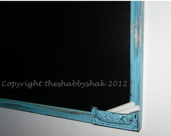 On Sale Framed chalkboard, aqua blue Large chalkboard 17 x 23 / Shabby Chic Decor